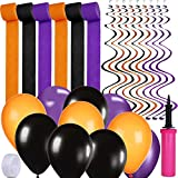 bulk party streamers - Supla Halloween Party Decoration Supplies Paper Streamers Backdrop Orange Purple Black Halloween Latex Balloons Bulk Twirly Whirlys Hand Inflator Pump for Halloween Festival Holiday