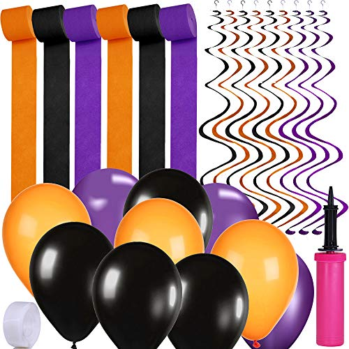 Supla Halloween Party Decoration Supplies Paper Streamers Backdrop Orange Purple Black Halloween Latex Balloons Bulk Twirly Whirlys Hand Inflator Pump for Halloween Festival Holiday