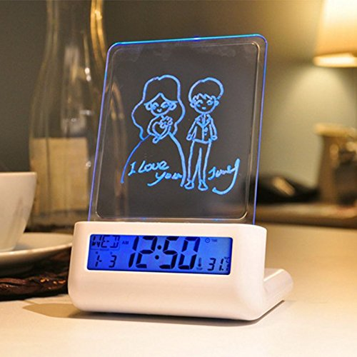 Brand Designer LED Fluorescent Message Board Digital Alarm Clock Calendar Night Light Modem LED Alarm Backlight Voice Broadcast ,and Perpertual Calendar (Vertical Blue light)