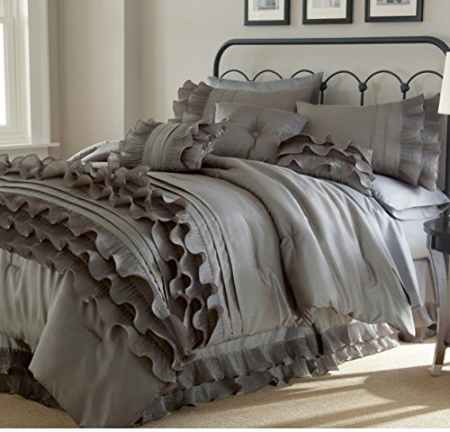 8 Piece Platinum Grey Ruffled Stripes Pattern Comforter Queen Set, For Luxury Modern Bedrooms, Beautiful Shabby Chic Ruffles Lines Design, Classic French Country Style, Neutral Solid Color, Unisex by Unknown