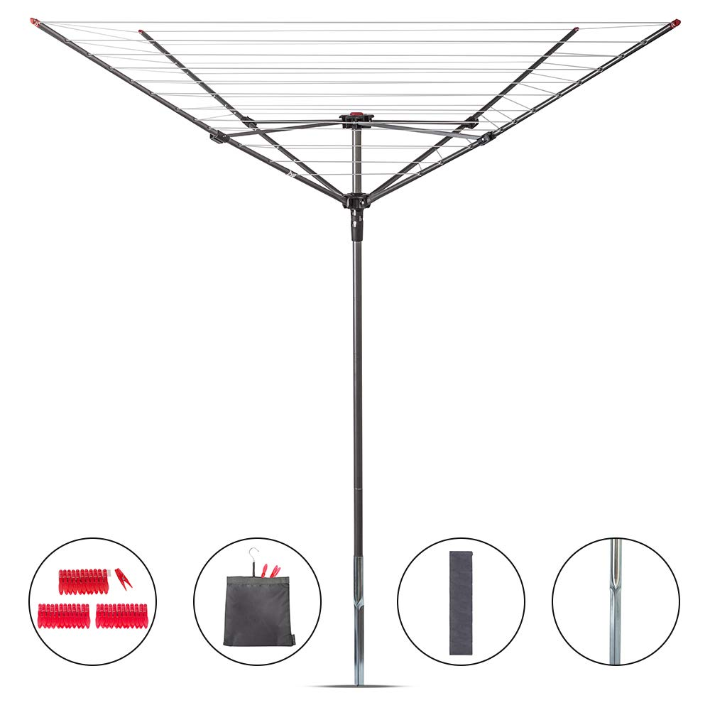 STORAGE MANIAC Rotary Outdoor Umbrella Drying Rack 12-Lines with 164ft Clothesline Collapsible 4-arm