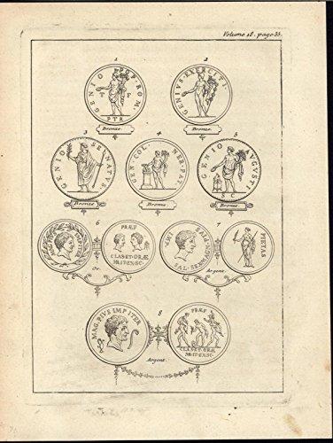 Bronze Silver Ancient Roman Medallion Designs 1734 antique engraved print