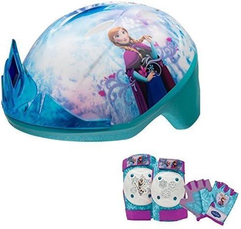 Disney Frozen Tiara Girls Skate Bike Helmet, Pads Gloves – 7 Piece Set