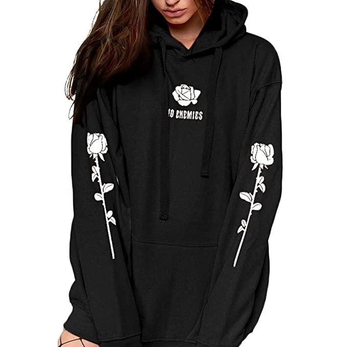 3c652d77e213 FimKaul Fashion Baggy Women Hoodie Rose Printed Casual Long Sleeve Pullover  Sweatshirts with Pocket HO Enemies