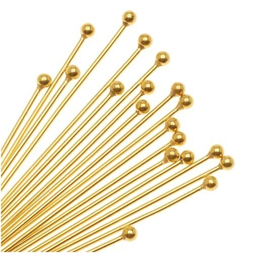 Beadaholique 22K Gold Plated 2mm Ball Head Pins 21 Gauge 3 Inches (x20)