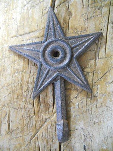 6 Cast Iron STAR Coat Hooks Hat Hook
