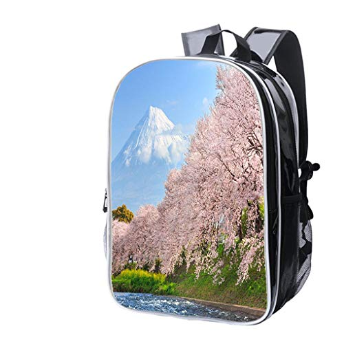 (High-end Custom Laptop Backpack-Leisure Travel Backpack Cherry Blossoms or Sakura and Mountain Fuji in Background Water Resistant-Anti Theft - Durable -Ultralight- Classic-School-Black)