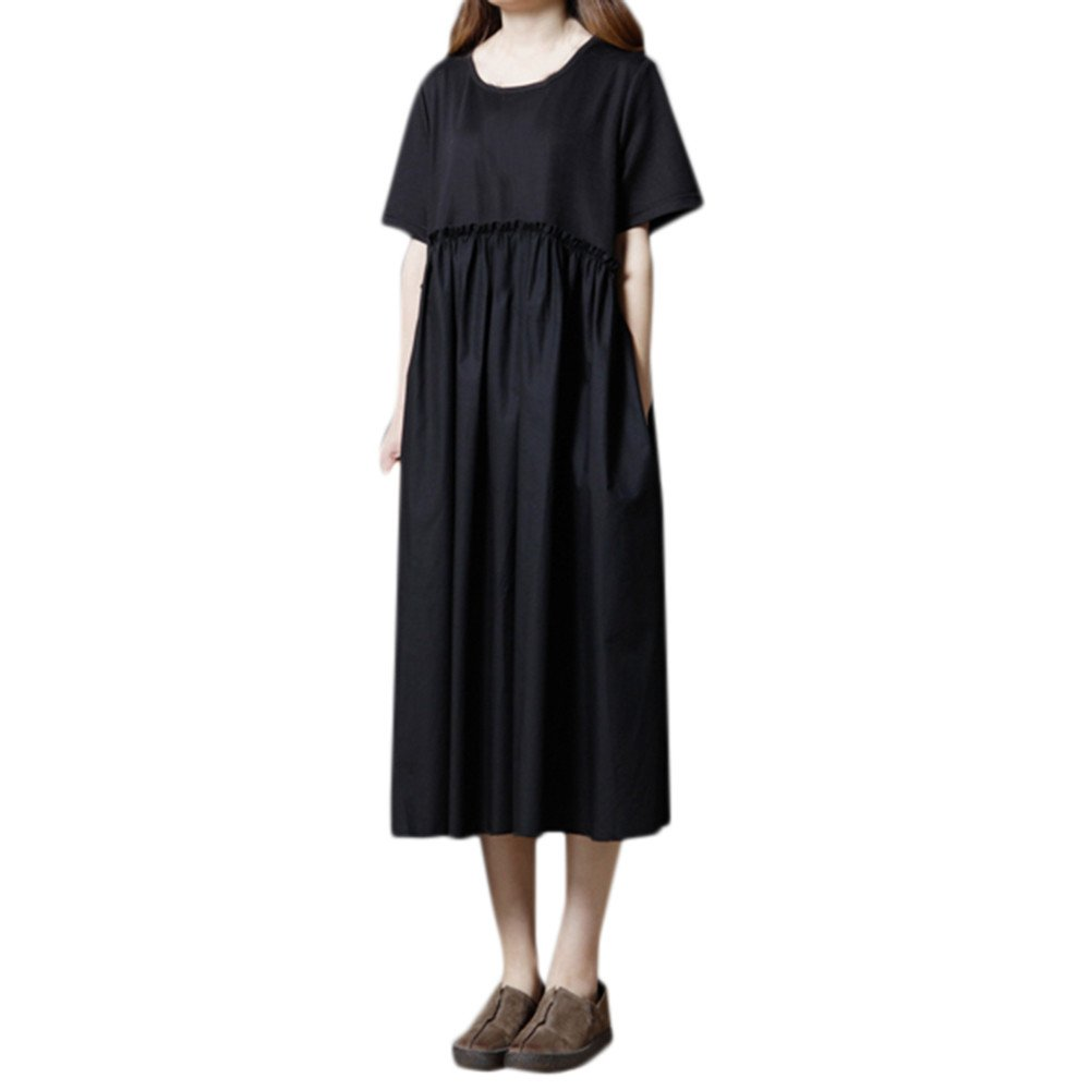 Womens Dresses Clearance Sale! Women's 3/4 Sleeve Casual Loose Cotton Linen Soild High Line Long Dress Daily by ILUCI Womens Dresses (Image #6)