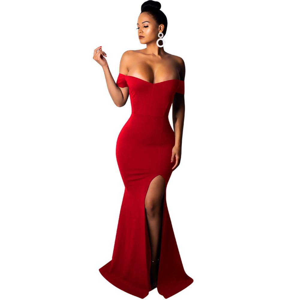 Womens Fashion Sexy Casual Solid Strapless Shoulder color Tight Backless Dress Long Dress Sexy Slim Solid color Shoulder Dress Red OneWord Collar
