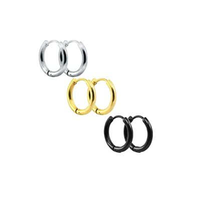 Amazon.com: 3 – 4 pares de aretes de aro de acero inoxidable ...