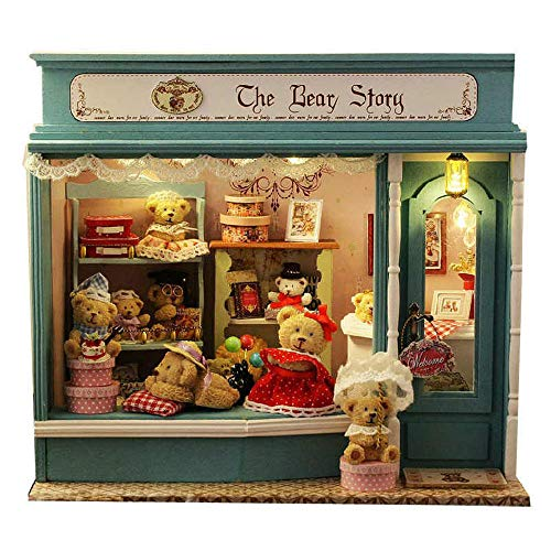 MAGQOO Dollhouse Miniature DIY House Kit with Furniture 1:24 Scale Creative Room Voice Control Music Box Included(Bear Story) from MAGQOO