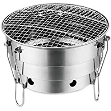 SUMERFLOS Portable Foldable Charcoal Grill, 11 inch Small Stainless Steel Windproof Grill, Lightweight BBQ Grill with Carry Bag Perfect for Home Garden Outdoor Camping Picnic Beach Barbecue Party