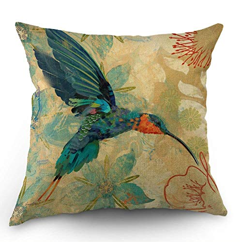 HL HLPPC Bird Throw Pillow Case Blue Orange Hummingbird Bird Teal Aqua Red Flowers Cotton Linen Cushion Cover 18 x 18 Inches Standard Square Decorative Pillow Cover for Sofa and Bed One Side Print (Red And Pillows Aqua)