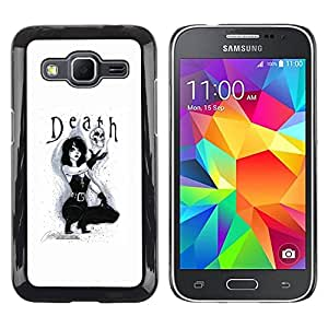 Paccase / SLIM PC / Aliminium Casa Carcasa Funda Case Cover - Lady Sexy Text Black White Skull - Samsung Galaxy Core Prime SM-G360