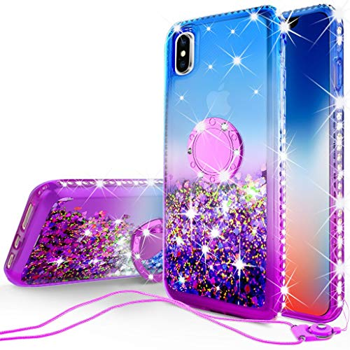 [Coverlab] Glitter Phone Case Kickstand Compatible Apple iPhone Xs Max, Ring Stand Liquid Floating Quicksand Bling Sparkle Protective Girls Women iPhone Xs Max - (Blue Gradient)