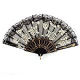 uxcell® Plastic Rib Lace Rim Rose Printed Party Wedding Dancing Folding Hand Fan Black