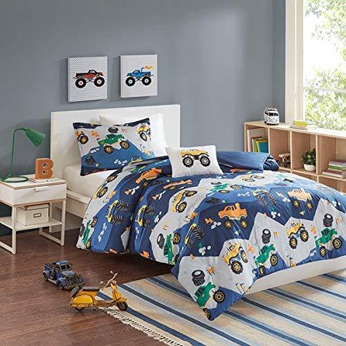 Kids Bedding Boys Orange & Green Monster Trucks Blue Full/Queen Comforter, Shams, Toss Pillow (Monster Trucks Bedding Set)