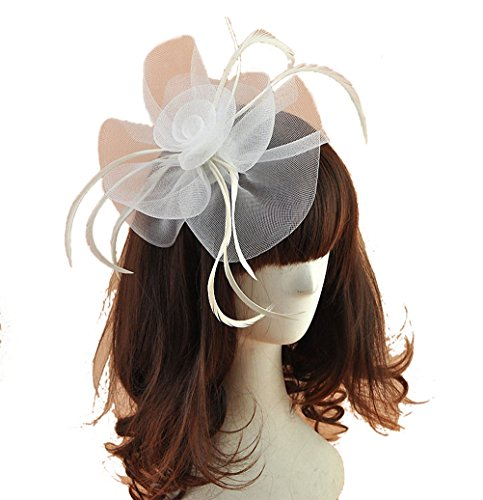 White Hats And Fascinators (Women Fascinators Hair Clip Headband Hat Veil Flower Derby Cocktail Tea Party Church Headwear (White))