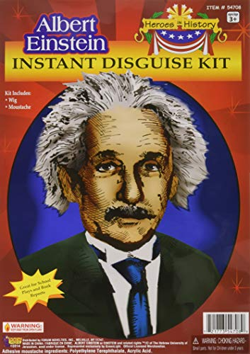 Forum Novelties Men's Heroes In History Albert Einstein Costume Wig and Mustache, White, One Size ()