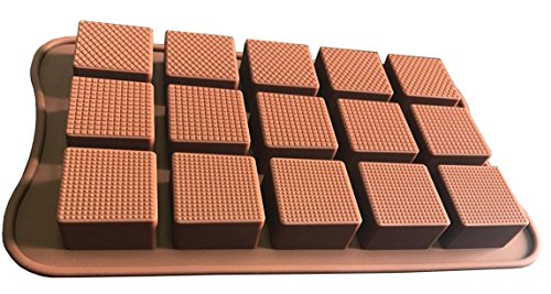 ADS Silicone Pastry Chocolate Mold Baking Pan - Textured Square Truffle - 15 Cavities