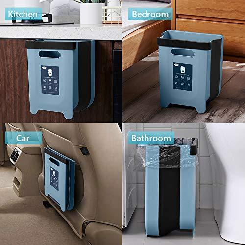 LOVIVER Cubo de basura colgante peque/ño gabinete de basura de cocina Mini cubo de basura para el hogar//coche//ba/ño//oficina//dormitorio//Camping Azul 3L
