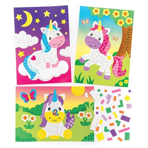 Baker Ross Unicorn Sticky Mosaic Kits (Pack Of 4) For Kids To Make & Display