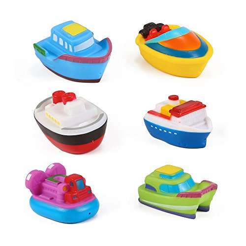 Liberty Imports Water Bath Squirties - Fun Floating Squeeze and Squirt Bathtub Squirters - Ideal Toys for Kids, Babies, Toddlers Bathtime (Boat Party)