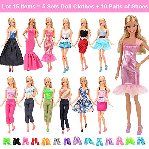 - BARWA Lot 15 Items 5 Sets Fashion Casual Wear Clothes Outfit Handmade Party Dress with 10 Pair Shoes for 11.5 Inch Girl Doll Birthday Xmas GIF