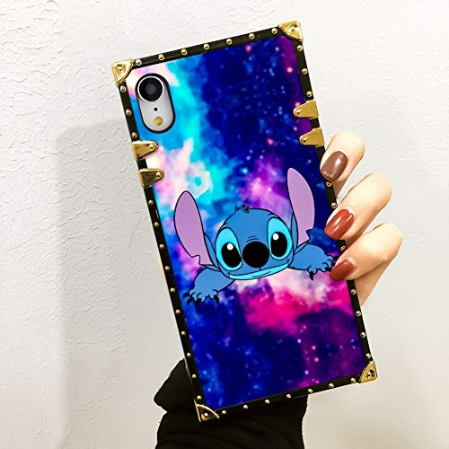 KASOS Phone Case Compatible iPhone Xr Stitch and Starry Sky Luxury Elegant Square Protective Metal Decoration Corner Back Cover Case Compatible iPhone ()