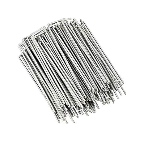 DAMI Landscape Staples and Fence Garden Stakes - 50 Pack 6 Inch U-Shaped Galvanized Heavy-Duty Pins for Weed Barrier Fabric Ground Cover Dripper Irrigation Tubing Soaker Hose
