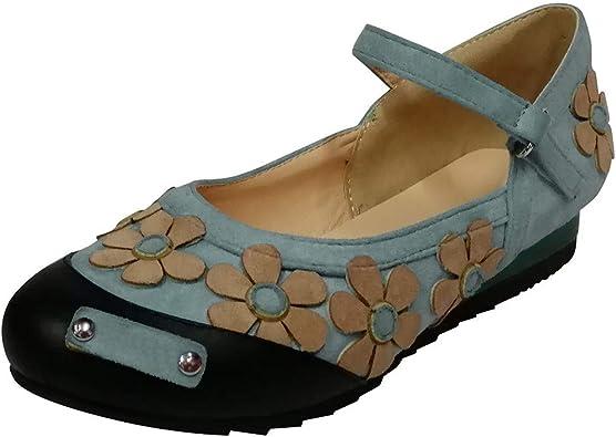 Womens Ladies Flats Round Toe Buckle Strap Ballet Shoes Comfort Summer Sandals