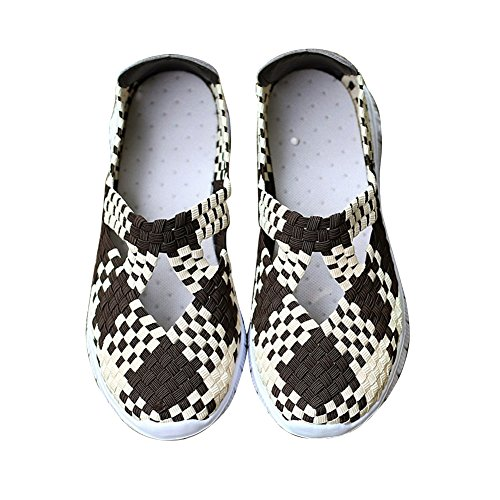 Rainlin Womens Multicolor Woven Fashion Sneakers Ademende Instappers Wandelschoenen Bruin