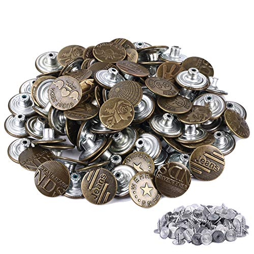 - FENGWANGLI Jeans Buttons -Bronze Metal Buttons 10 Styles Tack Buttons Replacement Kit Studs Snap Clothes Pants Belts Sweaters (100pcs 20mm)