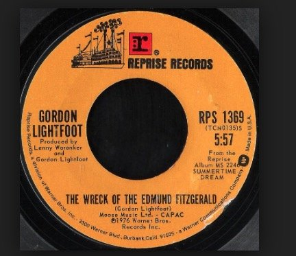 THE WRECK OF THE EDMUND FITZGERALD/THE HOUSE YOU LIVE IN/45/7
