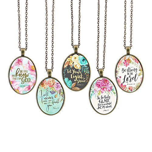 - Bling Bling Glass Cabochon Necklace Vintage Bible Verses Pattern of Oval Pendant Inspired Necklace 23.6 inches Handmade for Gifts 5pcs (Bible Verses 8, Big Oval)