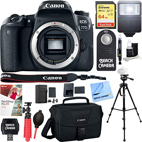 Canon EOS 77D 24.2 MP Digital SLR Camera Body with Case 64GB UHS-1 SDXC Memory Card Tripod Extra Battery Kit Cleaning Accessories & More Bundle