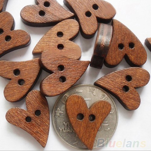 Heart Sewing - 20 Pieces Coffee Brown Heart Shaped 2 Hole Buttons, 1 x 3/4