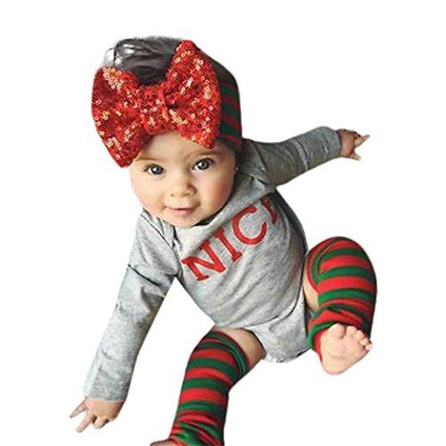 Sharemen Baby Boy Girl Letter O-neck Romper Headband Leg Warmer Outfits Set Clothes (Gray, 12-18 Months) -