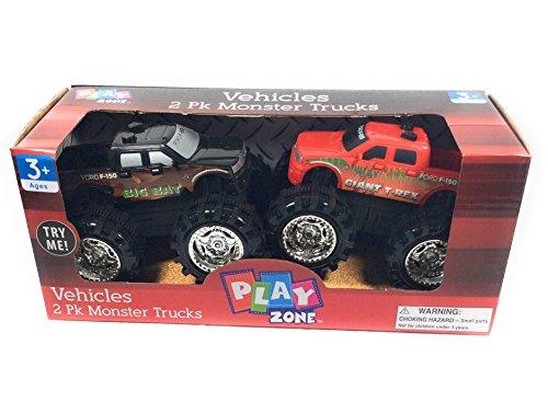 Play Zone Vehicles 2 Pk. Monster Trucks, Red & Black colors (Truck Monster Sound)