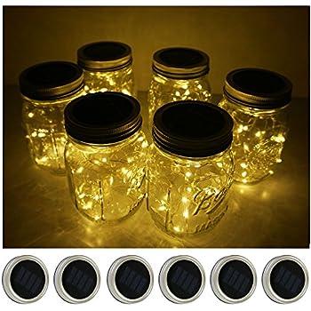 Amazoncom 6 Pack Mason Jar Lights 10 LED Solar Warm White Fairy