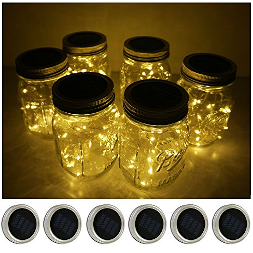 (6 Pack Mason Jar Lights 10 LED Solar Warm White Fairy String Lights Lids Insert for Patio Yard Garden Party Wedding Christmas Decorative Lighting Fit for Regular Mouth Jars(Jars Not Included))