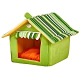 Fund Pet Igloo Bed Dog Tent Soft Warm Pet House Indoor Cave for Cat Puppy Play Room Bed (XL(55X50CM), Green)