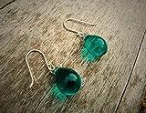 baken Teal Drop Earrings, Green Drop Earrings, Czech Glass Teardrop Earrings, Briolette Earrings, Silver Crystal Earrings, Aquamarine Earrings