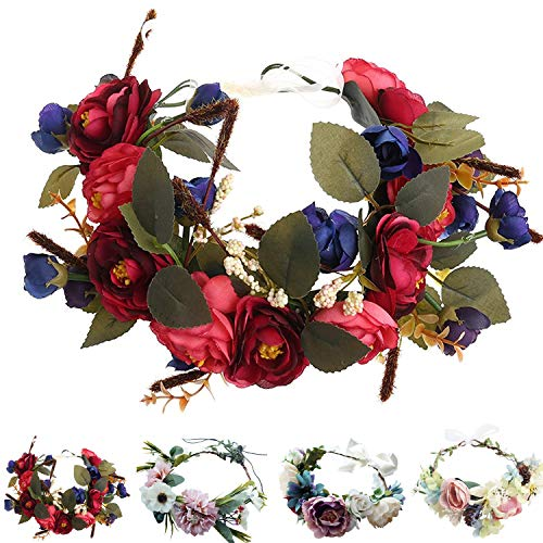 Handmade Adjustable Flower Wreath Headband Halo Floral Crown Garland Headpiece Wedding Festival Party]()