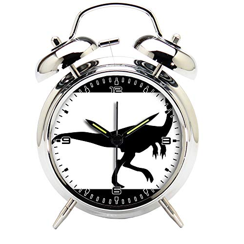 Children's Room Silver Dinosaur Silent Alarm Clock Twin Bell Mute Alarm Clock Quartz Analog Retro Bedside and Desk Clock with Nightlight-351.452_Dinosaur, Raptor, Silhouette, Jurassic, Animal by girlsight