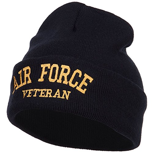 (e4Hats.com Air Force Veteran Letters Embroidered Long Beanie - Black OSFM)
