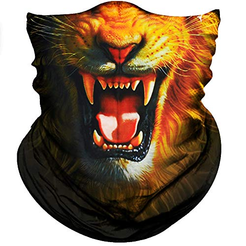 Obacle Animal Half Face Mask Sun Dust Wind Protection Durable Breathable Seamless Face Mask for Men Women, Lightweight Thin Neck Gaiter for Outdoor Lion Gold Hair]()