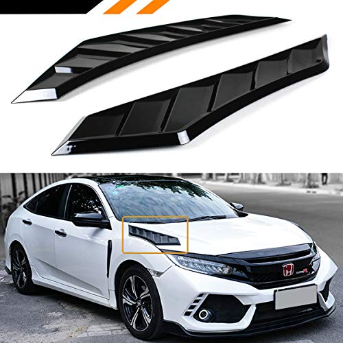 Cuztom Tuning Fits for 2016-2018 10TH GEN Honda Civic Decorative Glossy Black JDM Hood Bonnet Long Side Vent Louver Covers