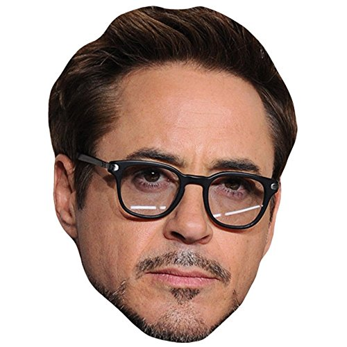 Robert Downey Junior (Clear Glasses) Celebrity Mask, Card Face and Fancy Dress Mask