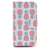 BEST- Eshop Pink pineapple pineapples PU Leather + Silicone Magnetic Flip Wallet Card Case Cover with Stand for Apple iPhone 5 5S , With Credit Cards Slots/ Money Holder